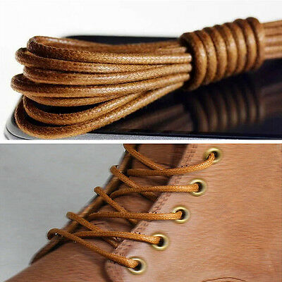 New Waxed Round Shoe Laces Shoelace Bootlaces Leather Brogues multi color 2 Pair