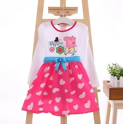 New Baby Girl Peppa Pig Dress Toddler Long Sleeve Cotton Size:1-6 years Gift