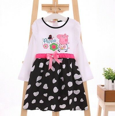 Kids Baby Girl Peppa Pig Dress Toddler Long Sleeve Cotton Size:1-6 years Gift