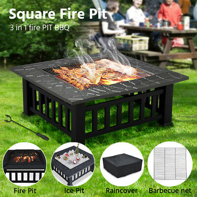 Outdoor Fire Pit BBQ Table Grill Garden Patio Camping Heater Fireplace Brazier