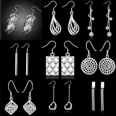 Fashion Women Silver Plated Ear Studs Hook Crystal Zircon Rhinestone Earrings