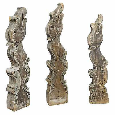 a set of three historical dragon head wood beams ca. 1900