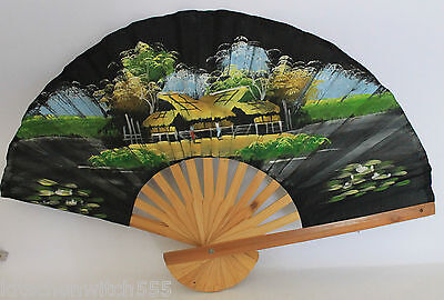 Vintage Asian Fan Expanding Bamboo Hand Painted Oriental Country Scene x
