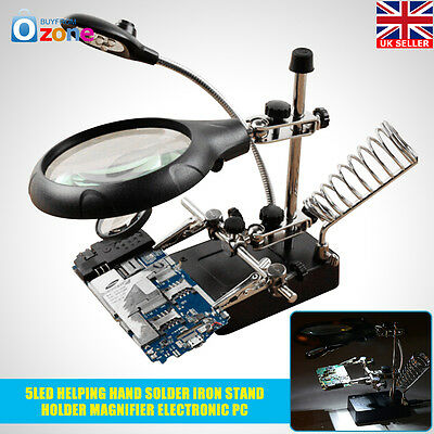 90MM Helping Hand Solder Iron Stand Holder Magnifier Electronic PC Repair 5 LED