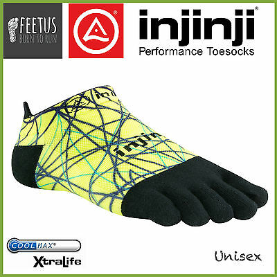 INJINJI Lightweight No Show LIME (Green Yellow Black) toe socks (Vibram)