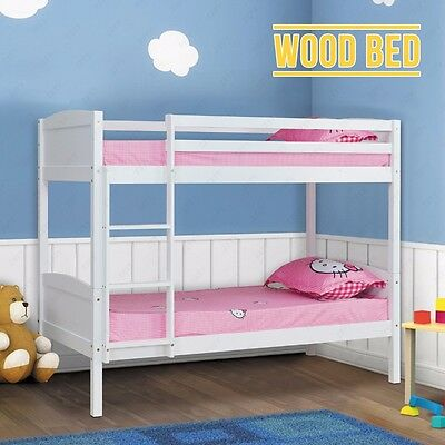 White Wood Beds 3FT Size Solid Pine Bunk Bed Frame Splits Into 2 Single Beds