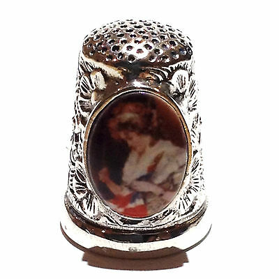 Victorian Style Thimble With Enamel Lady Sewing Union Jack 925 Sterling Silver