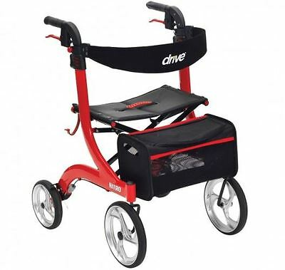 Drive Nitro 4 Wheeled Rollator Walking Frame Mobility Aid Lightweight Adjustable