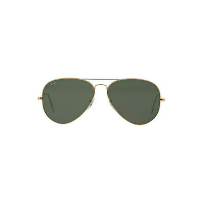New Original Ray Ban Aviator Sunglasses RB3025 Gold Frame 001 62mm Green UV Lens