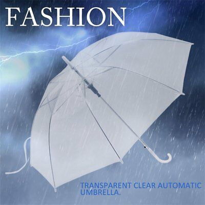 Fashion Transparent Clear Automatic Umbrella Parasol For Wedding Party Favor DE