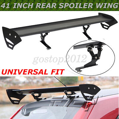 Black Universal Hatch Aluminum Adjustable Single Deck GT Rear Trunk Wing Spoiler