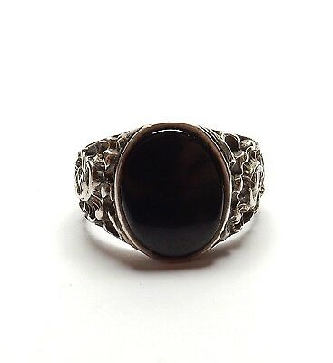 eb4a83dd6877f Vintage 925 Sterling Silver OVAL ONYX SIGNET RING PATTERNED SHOULDERS 6.5g  UK R