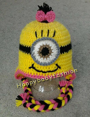 Baby Photo Props Boy Girl Crochet MINIONS DESPICABLE ME beanie Costume 0-3,3-6M