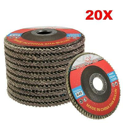 "20 X 115mm 40 Grit Aluminium Oxide Flap Discs 1/2"" Angle Grinder Grinding Wheels"
