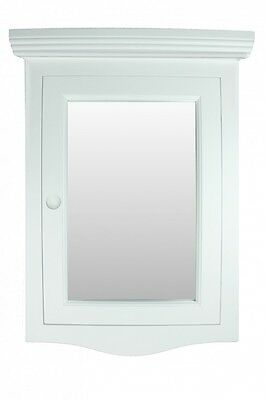 Corner Medicine Cabinet White Hardwood Wall Mount Recessed Mirror Easy Clean