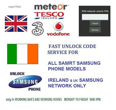 Unlock code for Samsung Galaxy j1 S5 S6, s7 edge IRELAND Vodafone, Three network