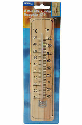 Indoor / outdoor thermometer, wood back, centigrade and farenheit