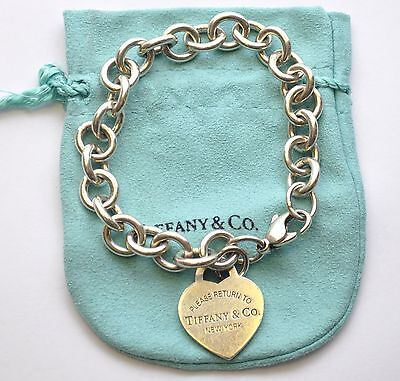 Tiffany & Co. Sterling Silver Return to New York 925 Heart Tag Link Bracelet 7