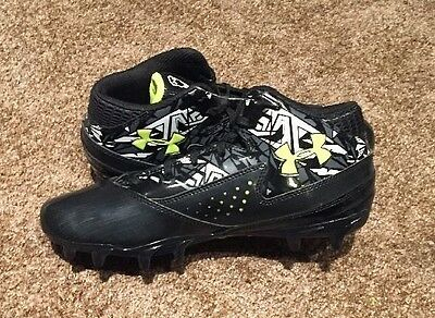 Under Armour Men's Ripshot Mid MC Lacrosse Cleats Black/White NWOB