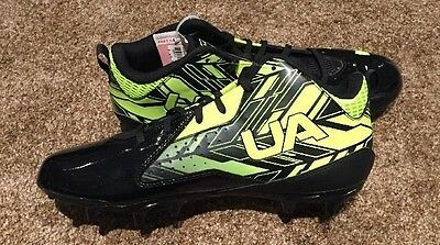 Under Armour Men's Ripshot Mid MC Lacrosse Cleats Black/Yellow NWOB
