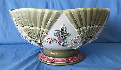 Rare Majolica Large Footed Centerpiece Bowl Shell Birds Mottahedeh Italy