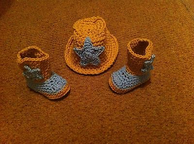 Handmade Crochet Cowboy Boots And Hat Set 0-3 Photo Props