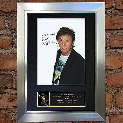 PAUL McCARTNEY Signed Autograph Mounted Photo Reproduction A4 Print no169