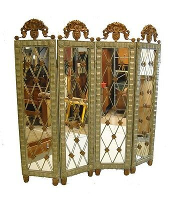 Silver and Copper Four Part Room Divider Mirrored Screen by John-Richard