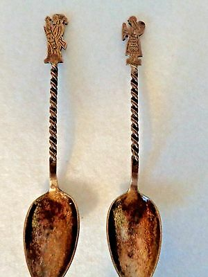 Vintage Collector Spoons-Male and Female w/ Baby- Unique Twisted Handle