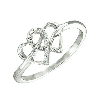 Diamond Accent Double Heart Ring In Solid 10K White Gold