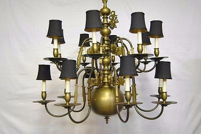 Antique Oversized Asian Influence 16 Arm Brass Chandelier with Figural Faces 40""