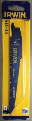 """New Irwin - 372656P5 - 6"""" Nail Embedded Wood Cutting Reciprocating Blade (5-Pk)"""