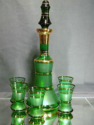 Vintage Emerald Green Frosted with Gold Stripe Decanter Set with 5 Glasses