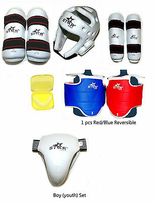 Taekwondo Sparring Gear set 8 PC Protector Karate Gear set Chest Guard Protector