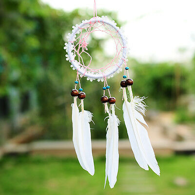MINI White Flower Dream Catcher With feathers Hanging Decoration Ornament Craft