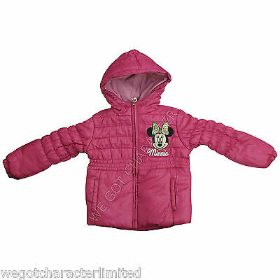 Licensed Disney Girls Minnie Mouse Pink Winter Padded Jacket Coat Age 2 4 6 8