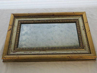 Vintage Hollywood Regency Gold Accent Mercury Smoked Glass Mirror Wood HTF