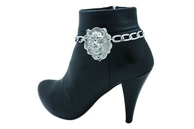 Hot Women Silver Chain Boot Bracelet Anklet Shoe Big Flower Charm Floral Jewelry