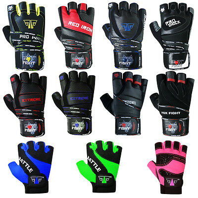 FOX-FIGHT Kraftsport Trainings Fitness Handschuhe Kraftsporthandschuhe Leder