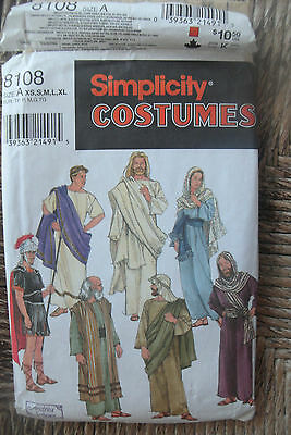 Simplicity Pattern 8108 Adult Passion Play Costumes Sz A XS-XL