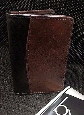 "Buxton, Latigo Leather Business Card Case Black/ Brown, 4"" X 2-3/4"" 87958"