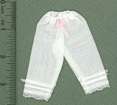 Dollhouse Miniature 1:12 Ladies' White Sheer Pantaloons w/Lace Trim & Pink Ri...