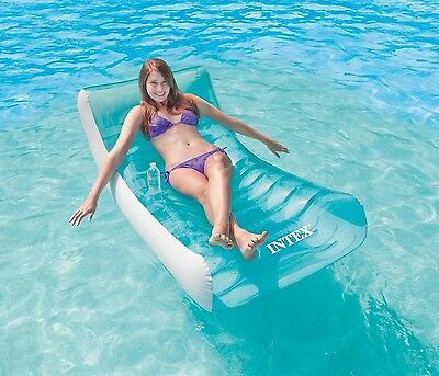 New Inflatable Water Float Raft Swimming Pool Beach Floating Lounge w/Cup Holder