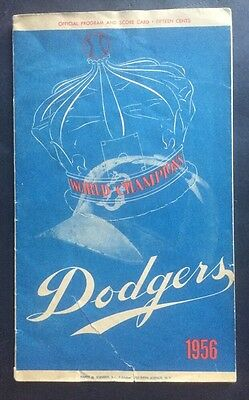 Brooklyn Dodgers 1956 Official Program Ebbets Field Jackie Robinson WS Champions