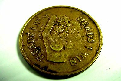 """Vintage Bronze Nude Token Coin Medal Head & Tails 25Mm"""""""