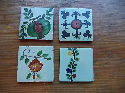 Set 4 Vintage Hand Painted Tiles Mexico? Portugal?  4 x 4