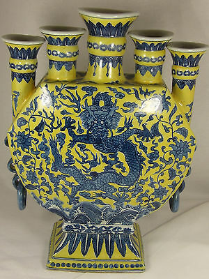Antique Chinese Porcelain Gauranteed: Guangxu Dragon Vase Large Candle Holder