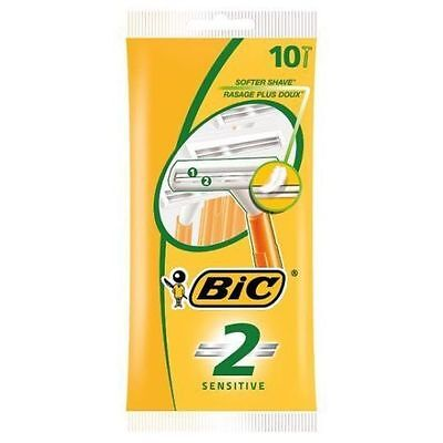 Bic 2 Sensitive Disposable Razor Twin Blade Fixed Head Razor Mens Razors