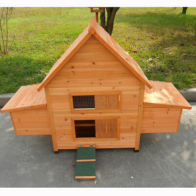 Large Classical Chicken Coop Hen House Chook Hutch With double Egg Cages T022