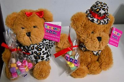 Galerie Valentine Brown Plush Boy Girl Bears W Brach's Candy Conversation Hearts